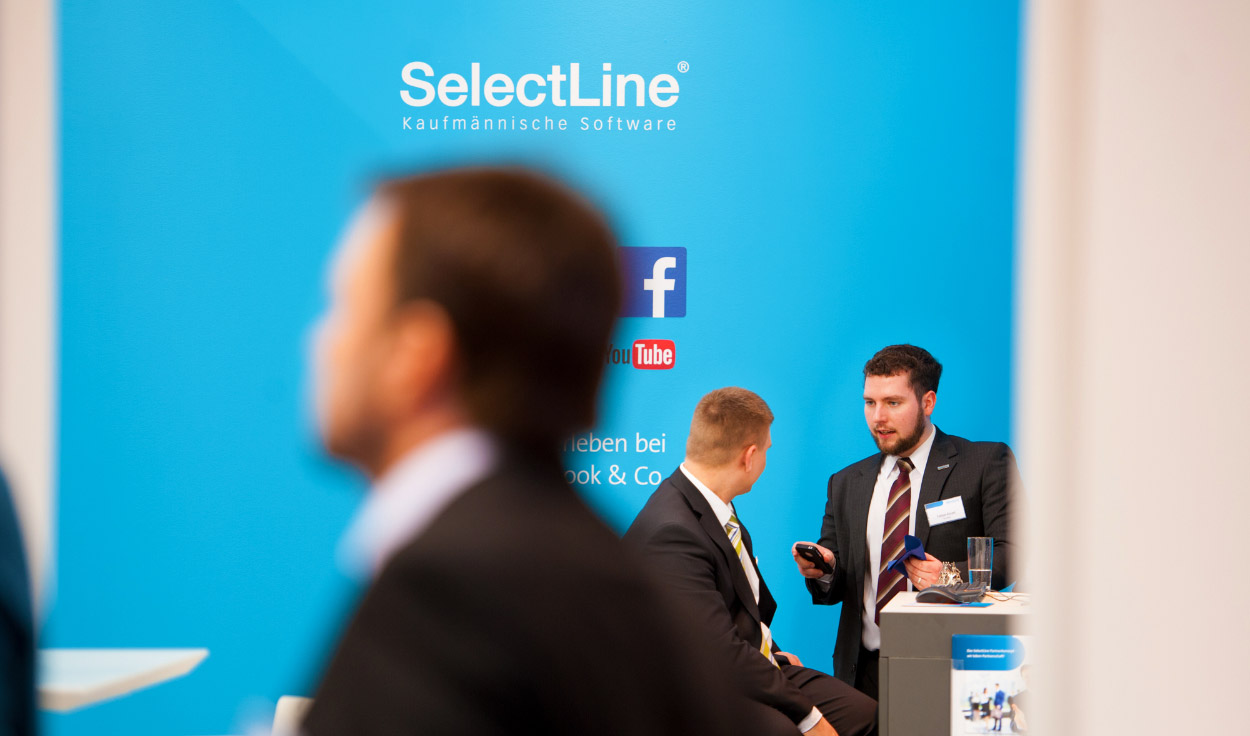 SelectLine Messestand CeBit, exhibition, Facebook, YouTube